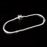 Wholesale Fashion DIY Charm Stamp Pan Silver Plated Snake Clasp Chain Bracelets Fits Pandora Charm Beads