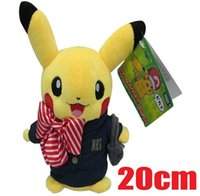 airline toys - Retail cm Pikachu Cosplay airline stewardess Stuffed Animals Plush Toys Cartoon Movies TV Pocket center Stuffed Dolls Anime Baby NRT