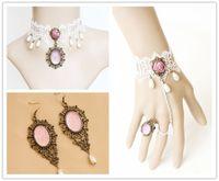 Wholesale 3pcs handmade vintage women white lace necklaces earrings bracelets jewelry sets for wedding party JL