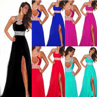 Wholesale Low Cut Red Prom Dress - 2016 New Arrival Women Long Evening Sexy Dress Sequined Strappy Dress Ball Prom Gown Formal Bridesmaid Low Cut Chiffon Dress