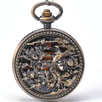 antiques phoenix - Chinese Phoenix Resting In Divine Tree Bronze Round Mechanical Pocket Watch Men Women Hand Wind Key Chain Pendant Watch
