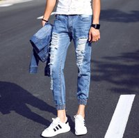 angle jeans - Summer Angle length jeans men Fashion Sport Beam pants Mens biker jeans Ripped jeans for men Distressed jeans