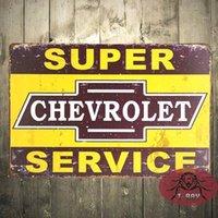 Wholesale Vintage home decor quot Super Chevr Service quot Tin Sign Gas Oil Hot Rod Rat Rod Street Rod