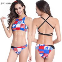 american bathing suit - Sexy United States export a bathing suit Chinese style chest covering the back American flag bikini high end fission swimsuit