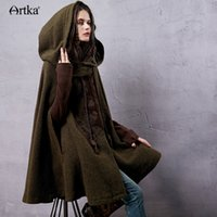 Wholesale Artka Women s Autumn New Vintage Ethnic Woolen Hooded Cloak Coat Embroidered Turtle Neck Drop Shoulder Sleeve Wool Cape
