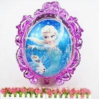 Wholesale 10pcs Best Quality magic mirror foil balloons princess Elsa and Anna helium balloon Kids birthday decoration globos party