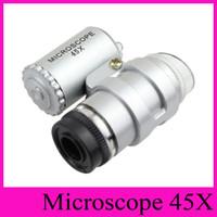 Joyería del joyero del microscopio 45X de la lupa 45X Mini lupas Lupas Microscopios de bolsillo con luz LED + bolsa de cuero Lupa 2016