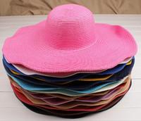 Ведра оптовой Цены-Оптовая шлема Sun женщин способа дискета шляпе Складная Широкий Большой Брим Floppy ведра шлема Sun пляжа лета соломенной шляпе Cap Бесплатная доставка