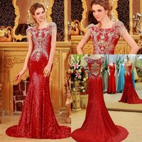 Images longues robes de soirée rouge France-Fashion Real Picture Red Sequin Robes de soirée Manteau Manche Beaded Crystals Sheath Backlerss Longueur à pied Long Evening Party Robes de bal