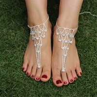 wholesale toe rings - 2pcs Rhinestone Barefoot Sandals Wedding With toe ring bohemian anklet bracelets chains Foot Jewelry Wedding Beach Bridal Brides