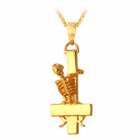 Bijoux uniques Inverted St. Peter Cross Collier New Fashion Or 18K gros Plaqué Hiphop Skull Bones Collier Bijoux pour hommes P823