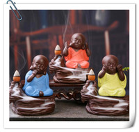 Wholesale Back three little monk Yixing creative incense incense incense burner incense line ceramic Home Furnishing office car decoration