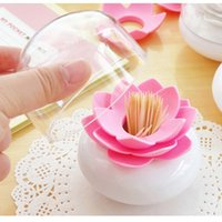 Wholesale Plastic Lotus Flower Bud Design Cotton Swab Toothpick Holder Storage Cases Box with Cover Home Room Decoration Colors