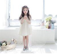Wholesale 2016 Kids Girls Spring Autumn Long Sleeve Simple Smooth Fabric Girls Princess Dress Korean Princess Dress Cute Lovely Girls A