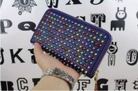 Wholesale full grain genuine leather original colorful rivets long women and men zipper hand bag loubuten wallets purse color free shipp