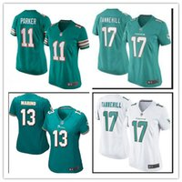 Wholesale 2016 hot sale women football Jerseys Miami cheap nice Dolphins jerseys elite authentic Parker football shirt size S XL
