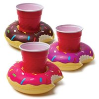 Wholesale 600pcs Inflatable Donut Cup holder PVC Water coke cup holder Beverage Boats Big Mouth Swimming holder