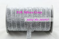 Wholesale 12mm Silver Grey Glitter Metallic Velvet Ribbon Rope DIY Hair Accessories Wedding Party Sewing Webbing Gift Packing Cord Decoration yards