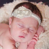 Wholesale Lovely Hot Sale Lace Kids Headdress Flower Girls Jewelry Pearls Diamonds Toddlers Headbands Baby Baptism Hair Accessories for Children BM