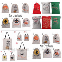 accessories santa - Christmas Halloween Drawstring Bag Halloween Pumpkin Tote Monogrammable Santa Claus Gifts Sack Bag Canvas Reindeer Xmas Drawstring Bag B1009