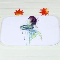 bathroom drawing - Drawing Mermaid Bath Mats Polyester Coral Fleece Rectangle Cartoon Non slip Bathroom Bedroom Carpet Home Mat X60CM