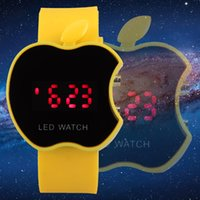 apple mirror display - Jelly Silicone Band Apple Design Case Electronics WristWatch LED Mirror Face Red Digital Number Display Sport Watches for Man Woman