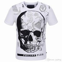 Wholesale NEW Cotton Fit Slim Casual Tee Print Rhinestone D skulls MENS Tshirts Top Quality P8068