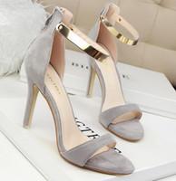 Wholesale 2016 summer new womens fashion elegant suede high heels sexy peep toe woman sandal wedding shoes