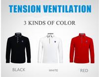 Wholesale PGM Golf Clothing Golf T Shirts Men Fashion Summer High Quality Double Collar Long Sleeve T Shirts Quick Dry Golf Shirts