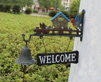 bell mounting bracket - Cast Iron Wild Birds Welcome Dinner Bell Hanging Sign Cabin Lodge Decor Garden Wall Mounted Door Bell Bracket