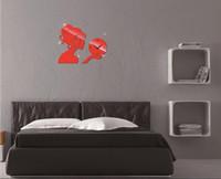 Wholesale Acrylic mirror diy wall clock watch beautiful living room wall stickers creative clock