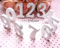 Wholesale 0 White Wooden Numbers Wedding Decoration Crafts Wedding Table Centerpieces Ornament DIY Photo Booth Props Home Decor Supply