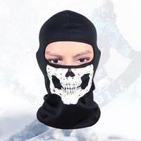 balaclava hood neck - Motorcycle Skull Ghost Neck Hood Full Face Mask Windproof Outdoor Sports Warm Ski Caps Bicyle Bike Balaclavas Scarf MA0057 salebags