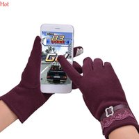 Wholesale Quality Touch Screen Gloves Ladies Womens Winter Full Finger Device Lace Keeping Hands Cosyan Gifts Girls Warm Lace Mittens Wool SV010851