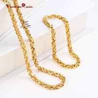 Wholesale WesternRain cm cm Men s Stainless Steel Jewelry Set Long Gold Men s Necklace Bracelet Set for Daily Wea F5609