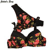 Wholesale Juliet s Sexy thong women bra set Seamless printing intimate bra brief sets romantic lure sports bra and underwear sets