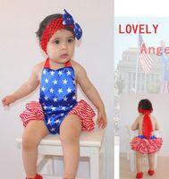 american flag romper - American flag style children romper baby girls lace suspender backless suspender stripe falbala romper Headband kids star jumpsuit A8818