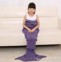 Wholesale Kids Crochet Mermaid Blankets Handmade Mermaid Tail Blankets Mermaid Tail Sleeping Bag Knit Sofa Nap Blankets Costume Cocoon cm