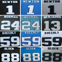 Wholesale Cheap Men s Authentic Cam Newton Jersey Josh Norman Luke Kuechly Greg Olsen Stitiched Logo Jerseys
