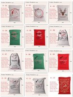 Wholesale 2016 new popular Christmas big canvas bag style choice Santa and the reindeer cotton string bag Christmas gift bag bag of red