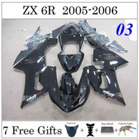 Wholesale ZX6R Motorcycle Fairing For Kawasaki ZX636 ZX R Motorcycle Fairing Set Whole Black Custom Painting Motorcycle Fairing