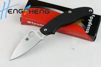 fruit box - 2pcs lot spyderco C94 knife unlock knife folding knife pocket knife original box rescue knife fruit knife camping tools