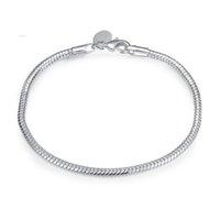 Mode longue 925 Silver Snake Charm Chain Link Bracelet Europe style plaquage 925 Argent Infinity Bracelets Accessoires Bijoux