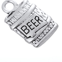 beer making bottles - Tibetan Silver Plated Bottle of Beer Floating Charms DIY Drink Jewelry Making Accesory