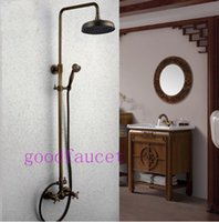 bath bar lights - Antique Brass quot Round Rain Bath Shower Faucet Set Wall Mounted Mixer Tap W Sliding Bar