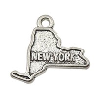 Wholesale Alloy American State Charms Antique Silver Plating New York Map Charms AAC038
