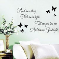 bathroom stories - Story Love Kiss Me Goodnight Wall Stickers Characters Quotes Butterfly Wall Decals for Home Living Room Decorations