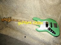 Precio de Guitarra de la mano izquierda verde-NUEVO verde zurda 5 cuerdas de la guitarra baja de arce fingerboardOEM envío libre de la guitarra