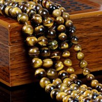 Wholesale AAA natural yellow tiger tiger spar men woodstone Beaded loose beads bracelet necklace material accessories