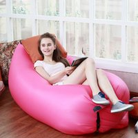 Wholesale Hot Hangout Sofa Fast Inflatable Air Lazy Rose Red Sleeping Bag Camping Lay Bed Storage Bag Outdoor Gear